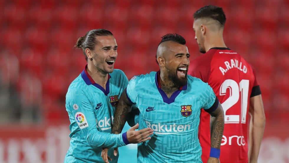 الدوري الإسباني مايوركا البارسا ميسي مباراة المباراة هدف أهداف برشلونة