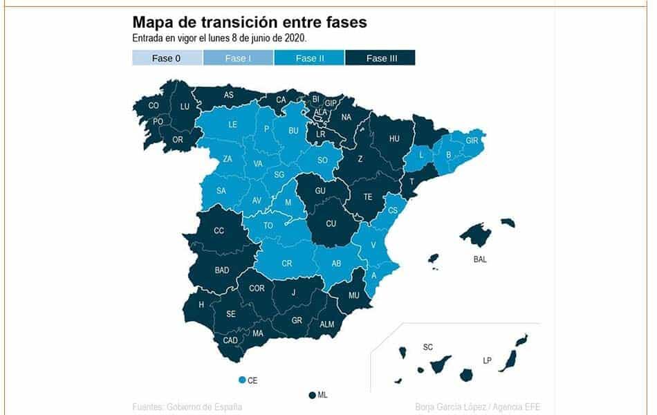 إسبانيا رفع القيود المرحلة الثالثة تخفيف المفروضة الخطة الحكومية تخفيف