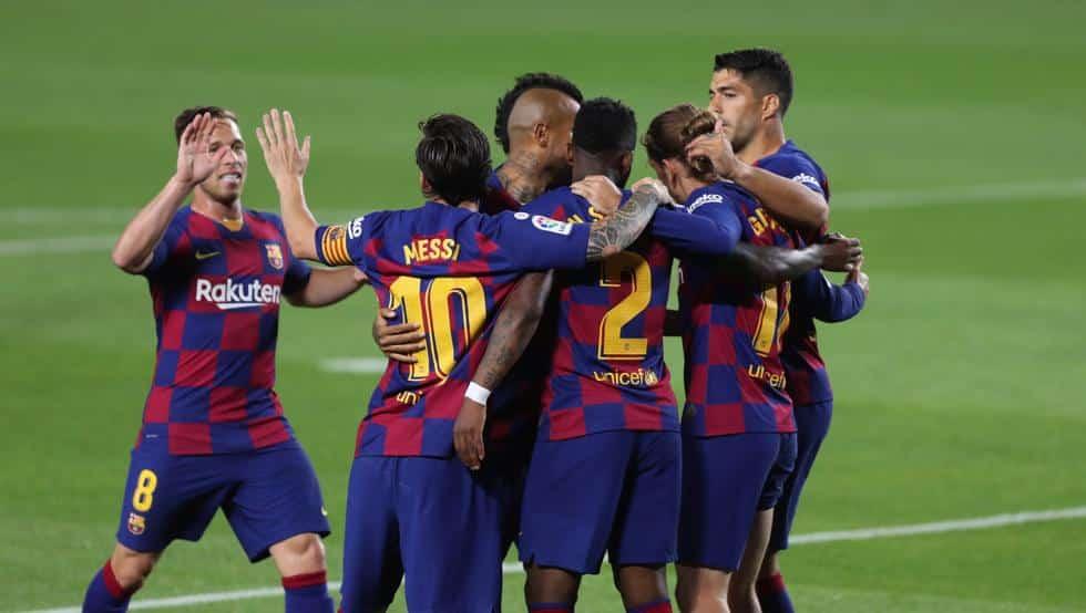 برشلونة ليغانيس مباراة هدف ميسي سواريز الصدارة نقطة