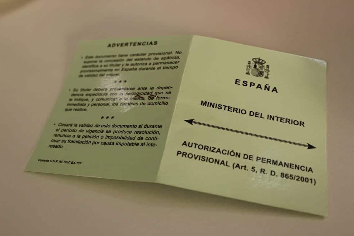 وثيقة بلا وطن ش APÁTRIDA حامل لإقامة قانونية في إسبانيا